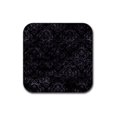 Damask1 Black Marble & Black Watercolor Rubber Coaster (square) by trendistuff
