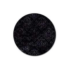 Damask1 Black Marble & Black Watercolor Rubber Round Coaster (4 Pack) by trendistuff