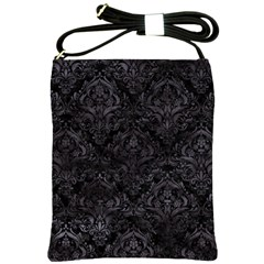 Damask1 Black Marble & Black Watercolor Shoulder Sling Bag by trendistuff