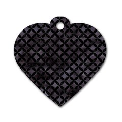 Circles3 Black Marble & Black Watercolor (r) Dog Tag Heart (two Sides) by trendistuff