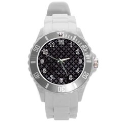 Circles3 Black Marble & Black Watercolor (r) Round Plastic Sport Watch (l) by trendistuff