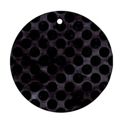 Circles2 Black Marble & Black Watercolor (r) Ornament (round) by trendistuff