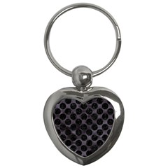 Circles2 Black Marble & Black Watercolor (r) Key Chain (heart) by trendistuff