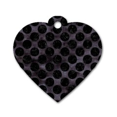 Circles2 Black Marble & Black Watercolor (r) Dog Tag Heart (one Side) by trendistuff