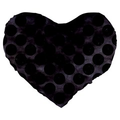 Circles2 Black Marble & Black Watercolor (r) Large 19  Premium Heart Shape Cushion by trendistuff