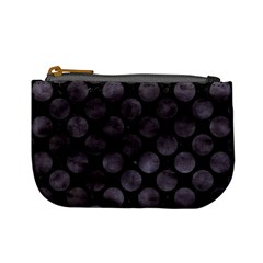 Circles2 Black Marble & Black Watercolor Mini Coin Purse by trendistuff