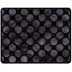 Circles2 Black Marble & Black Watercolor Double Sided Fleece Blanket (medium) by trendistuff