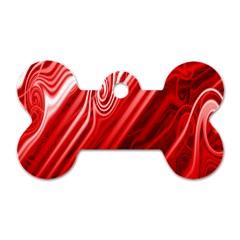 Red Abstract Swirling Pattern Background Wallpaper Dog Tag Bone (two Sides) by Simbadda