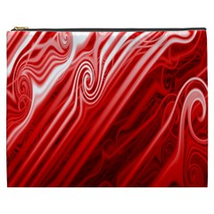 Red Abstract Swirling Pattern Background Wallpaper Cosmetic Bag (xxxl)  by Simbadda