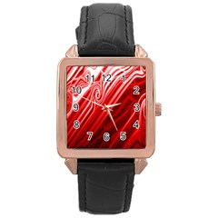 Red Abstract Swirling Pattern Background Wallpaper Rose Gold Leather Watch  by Simbadda