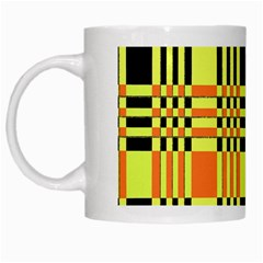 Yellow Orange And Black Background Plaid Like Background Of Halloween Colors Orange Yellow And Black White Mugs by Simbadda