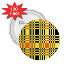 Yellow Orange And Black Background Plaid Like Background Of Halloween Colors Orange Yellow And Black 2 25  Buttons (100 Pack)  by Simbadda