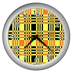 Yellow Orange And Black Background Plaid Like Background Of Halloween Colors Orange Yellow And Black Wall Clocks (silver)  by Simbadda