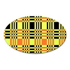 Yellow Orange And Black Background Plaid Like Background Of Halloween Colors Orange Yellow And Black Oval Magnet by Simbadda