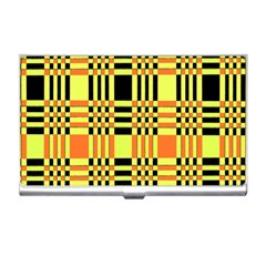 Yellow Orange And Black Background Plaid Like Background Of Halloween Colors Orange Yellow And Black Business Card Holders by Simbadda