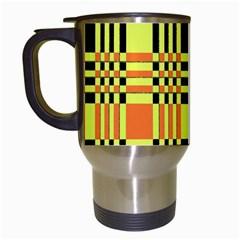 Yellow Orange And Black Background Plaid Like Background Of Halloween Colors Orange Yellow And Black Travel Mugs (white) by Simbadda