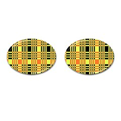 Yellow Orange And Black Background Plaid Like Background Of Halloween Colors Orange Yellow And Black Cufflinks (oval) by Simbadda