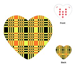Yellow Orange And Black Background Plaid Like Background Of Halloween Colors Orange Yellow And Black Playing Cards (heart)  by Simbadda