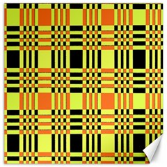 Yellow Orange And Black Background Plaid Like Background Of Halloween Colors Orange Yellow And Black Canvas 16  X 16   by Simbadda