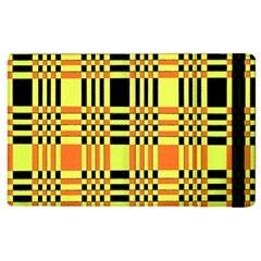 Yellow Orange And Black Background Plaid Like Background Of Halloween Colors Orange Yellow And Black Apple Ipad 2 Flip Case by Simbadda