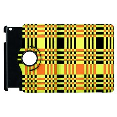 Yellow Orange And Black Background Plaid Like Background Of Halloween Colors Orange Yellow And Black Apple Ipad 2 Flip 360 Case by Simbadda