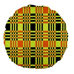 Yellow Orange And Black Background Plaid Like Background Of Halloween Colors Orange Yellow And Black Large 18  Premium Flano Round Cushions by Simbadda