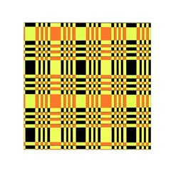 Yellow Orange And Black Background Plaid Like Background Of Halloween Colors Orange Yellow And Black Small Satin Scarf (square) by Simbadda