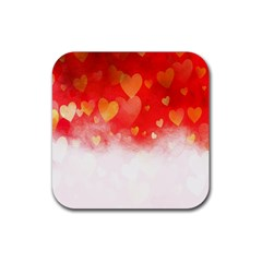 Abstract Love Heart Design Rubber Square Coaster (4 Pack)  by Simbadda