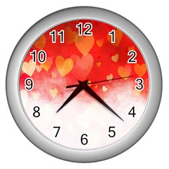 Abstract Love Heart Design Wall Clocks (silver)  by Simbadda