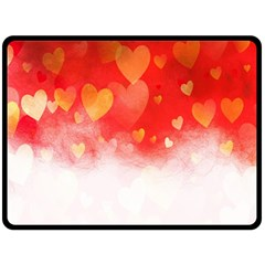 Abstract Love Heart Design Double Sided Fleece Blanket (large)  by Simbadda