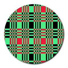 Bright Christmas Abstract Background Christmas Colors Of Red Green And Black Make Up This Abstract Round Mousepads