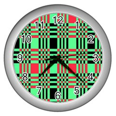 Bright Christmas Abstract Background Christmas Colors Of Red Green And Black Make Up This Abstract Wall Clocks (silver)  by Simbadda