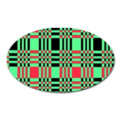Bright Christmas Abstract Background Christmas Colors Of Red Green And Black Make Up This Abstract Oval Magnet by Simbadda