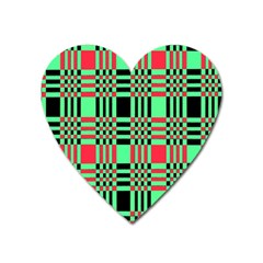 Bright Christmas Abstract Background Christmas Colors Of Red Green And Black Make Up This Abstract Heart Magnet by Simbadda
