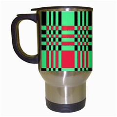 Bright Christmas Abstract Background Christmas Colors Of Red Green And Black Make Up This Abstract Travel Mugs (white) by Simbadda