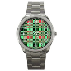 Bright Christmas Abstract Background Christmas Colors Of Red Green And Black Make Up This Abstract Sport Metal Watch by Simbadda