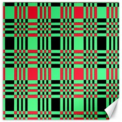Bright Christmas Abstract Background Christmas Colors Of Red Green And Black Make Up This Abstract Canvas 16  X 16   by Simbadda
