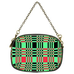 Bright Christmas Abstract Background Christmas Colors Of Red Green And Black Make Up This Abstract Chain Purses (two Sides)  by Simbadda