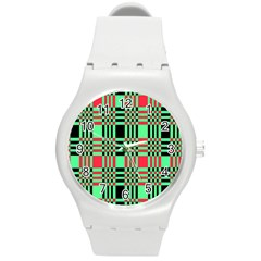 Bright Christmas Abstract Background Christmas Colors Of Red Green And Black Make Up This Abstract Round Plastic Sport Watch (m) by Simbadda