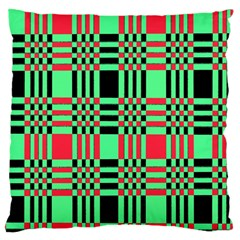 Bright Christmas Abstract Background Christmas Colors Of Red Green And Black Make Up This Abstract Large Cushion Case (two Sides) by Simbadda