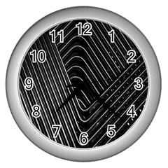 Chrome Abstract Pile Of Chrome Chairs Detail Wall Clocks (silver)  by Simbadda