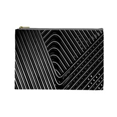 Chrome Abstract Pile Of Chrome Chairs Detail Cosmetic Bag (large)  by Simbadda
