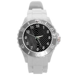 Chrome Abstract Pile Of Chrome Chairs Detail Round Plastic Sport Watch (l) by Simbadda