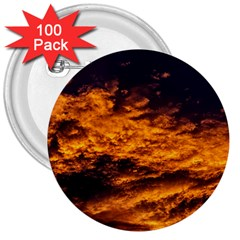 Abstract Orange Black Sunset Clouds 3  Buttons (100 pack)  by Simbadda