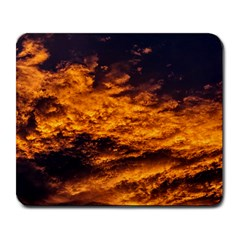 Abstract Orange Black Sunset Clouds Large Mousepads by Simbadda