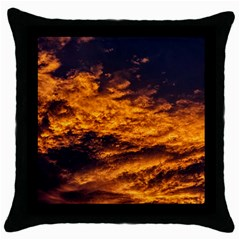 Abstract Orange Black Sunset Clouds Throw Pillow Case (black) by Simbadda