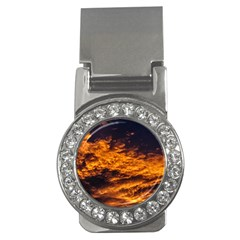 Abstract Orange Black Sunset Clouds Money Clips (cz)  by Simbadda