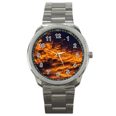 Abstract Orange Black Sunset Clouds Sport Metal Watch by Simbadda