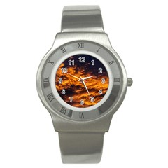 Abstract Orange Black Sunset Clouds Stainless Steel Watch by Simbadda