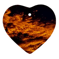 Abstract Orange Black Sunset Clouds Heart Ornament (two Sides) by Simbadda